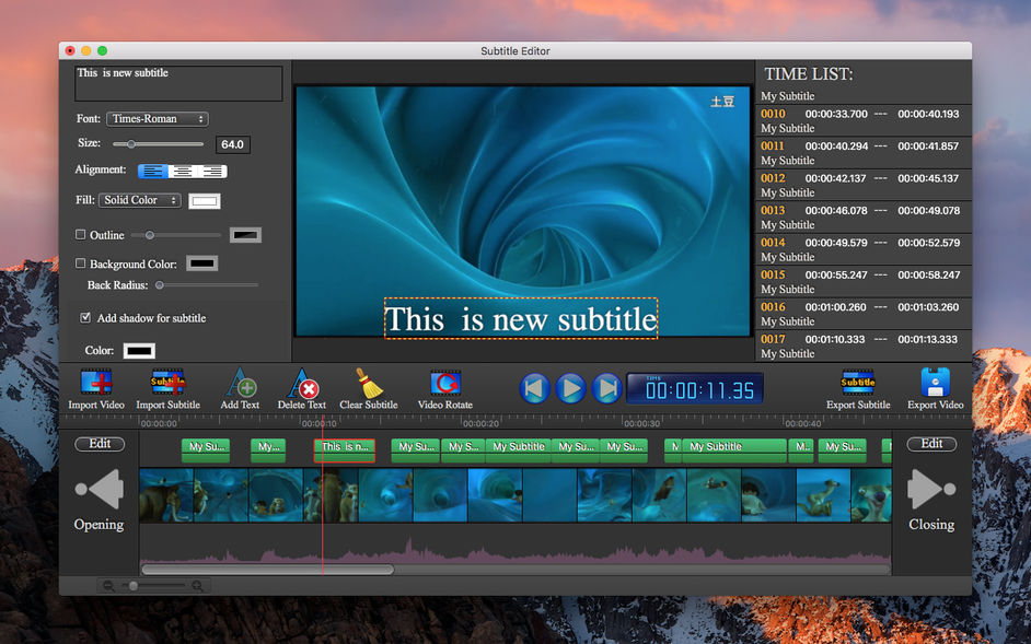 字幕编辑器 - Subtitle Edit , Video Editor for mac